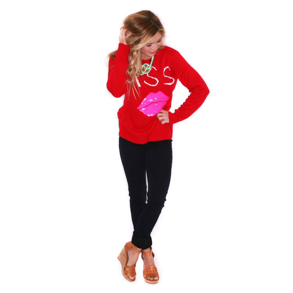 This Kiss Sweater in Red