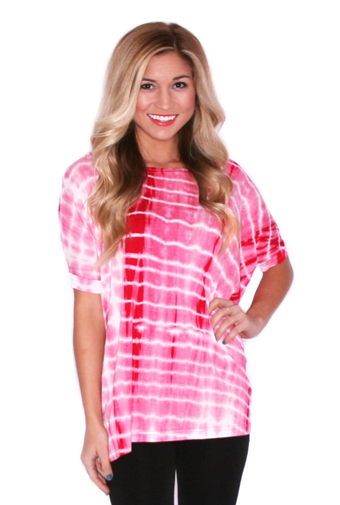 Tie Dye Short Sleeve Piko in Red