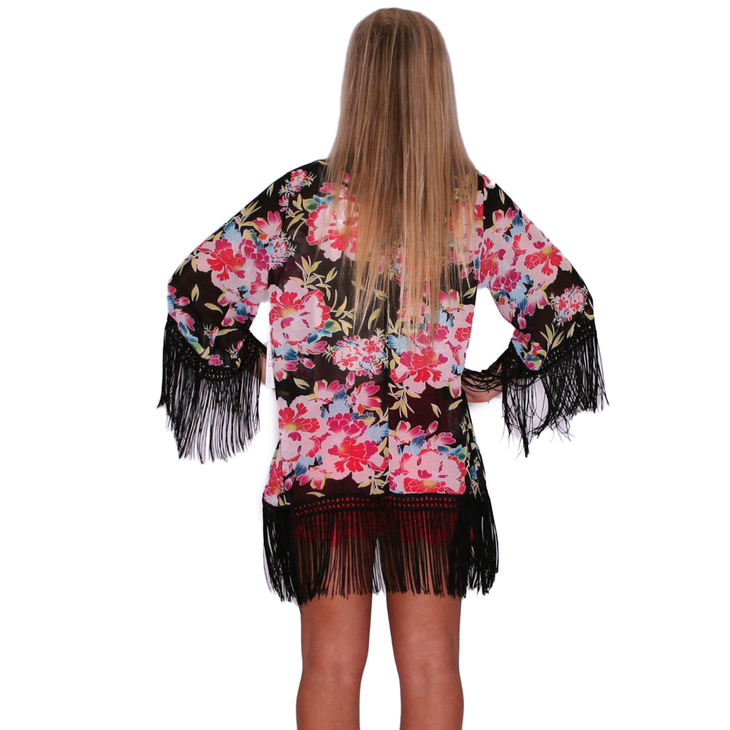 Travel Love Kimono in Black