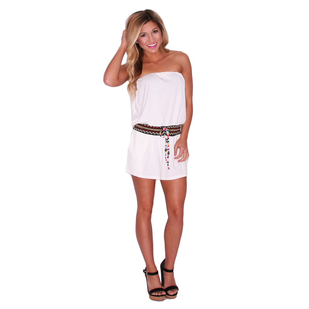 Take Me To The Tropics Romper in Ivory