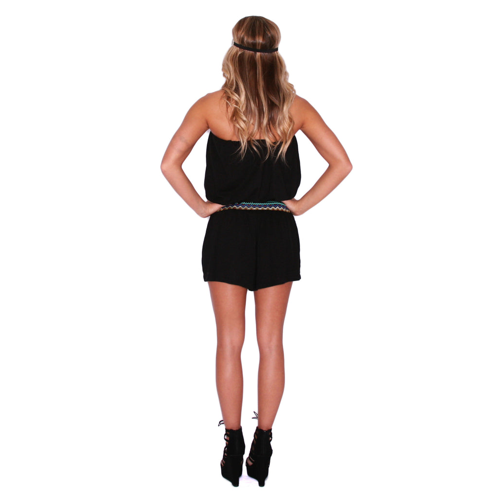 Take Me To The Tropics Romper in Black
