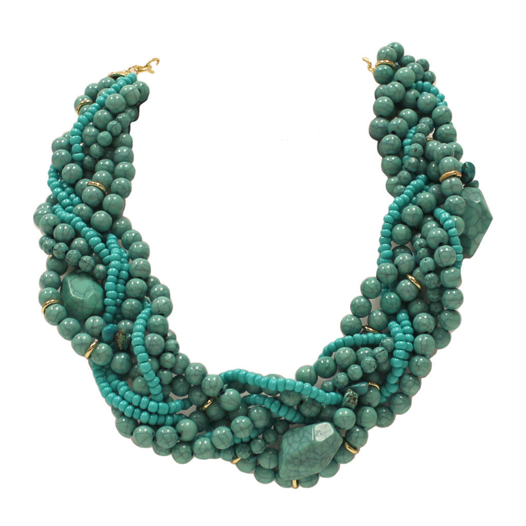 Twist & Kiss Necklace in Turquoise