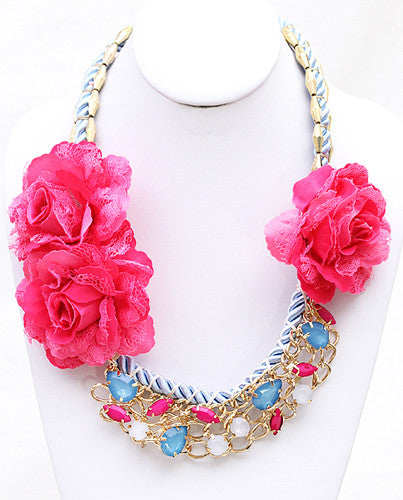 Floral Divine Necklace in Fuchsia