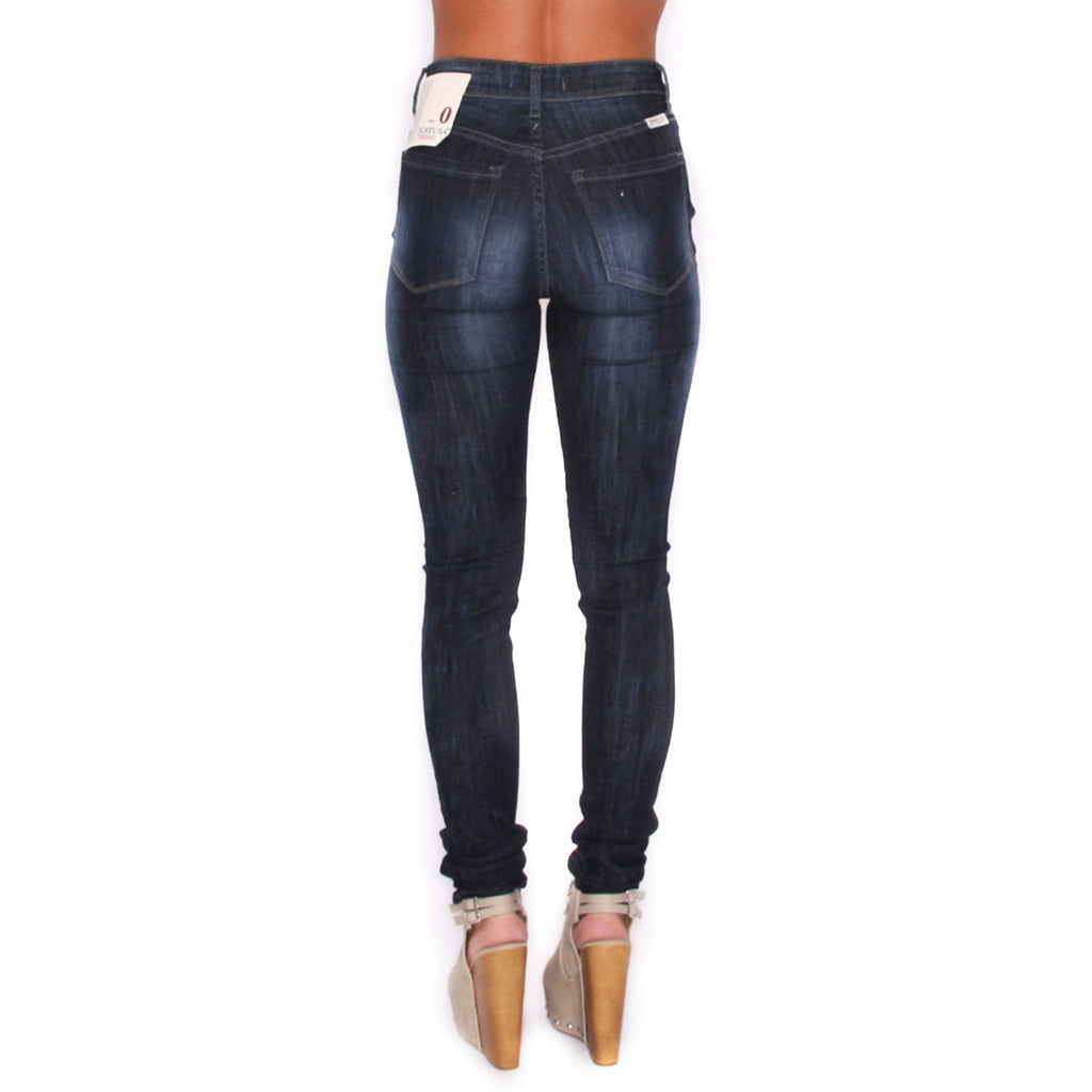 Washed High Rise Skinny Stone Blue