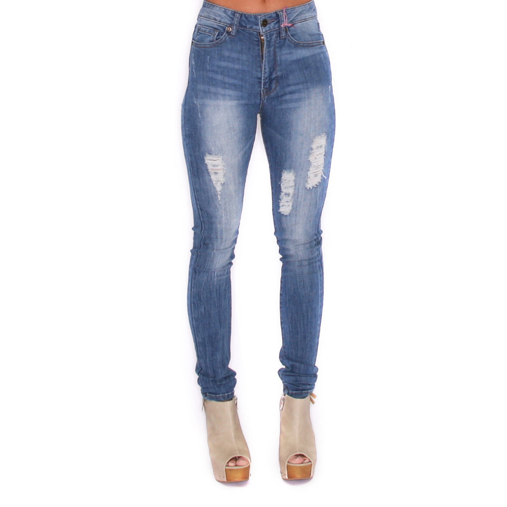 Washed High Rise Skinny Medium Blue