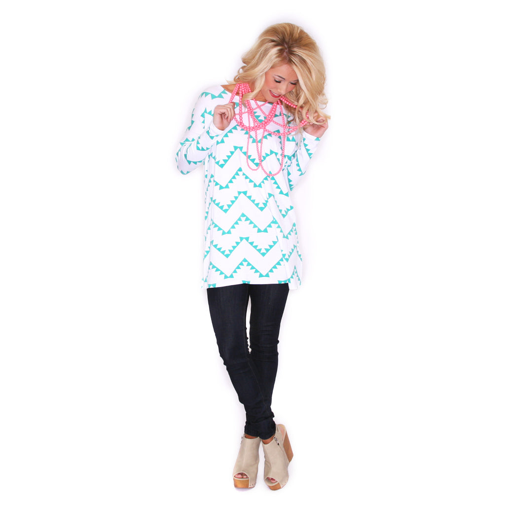 West Coast Dreaming Tunic Ivory/Mint