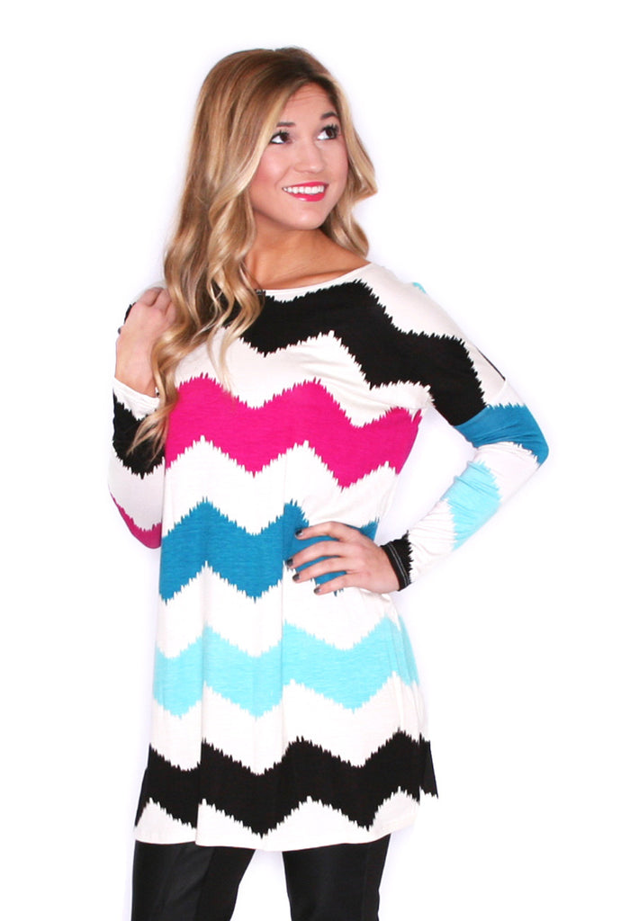 West Coast Dreaming Tunic Ivory/Magenta