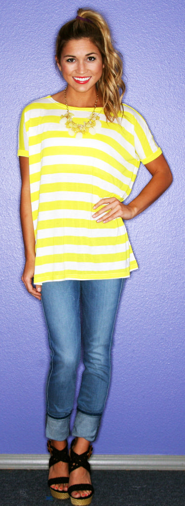 Short Sleeve Yellow Stripe PIKO