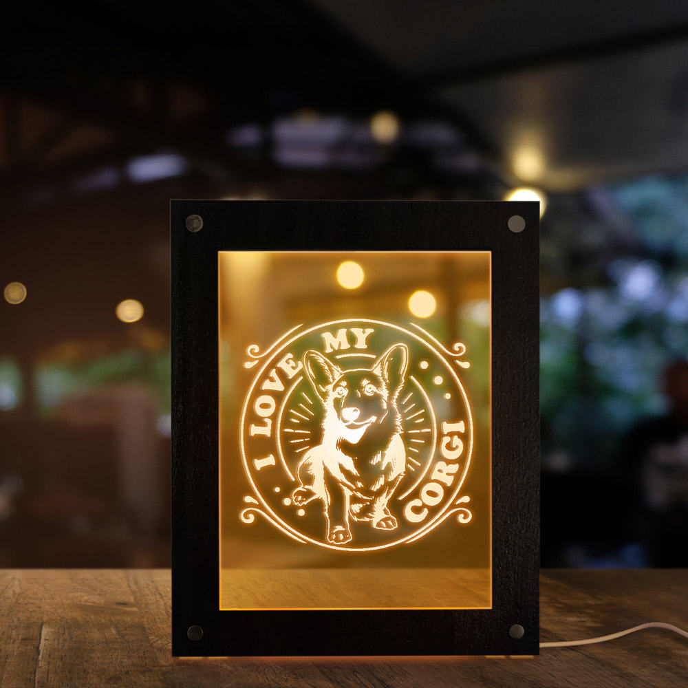 Corgi LED Light Display Wooden Frame