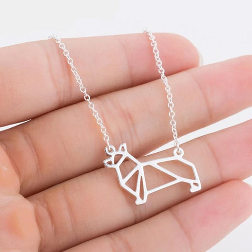 Geometric Corgi Necklace