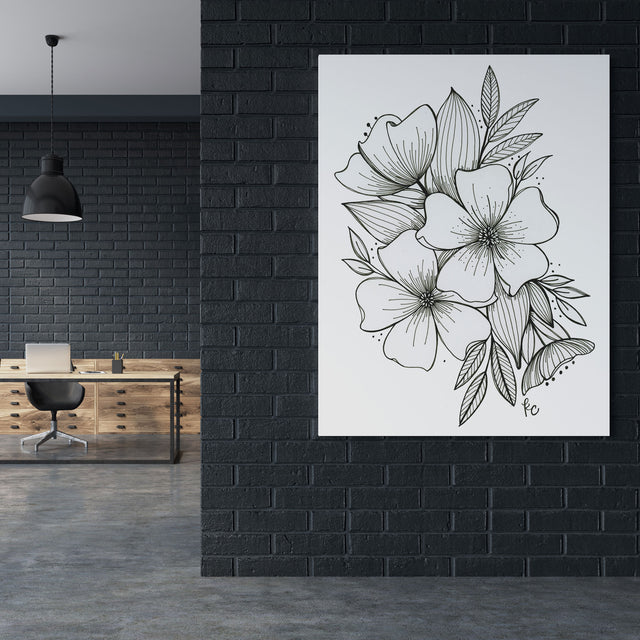 Black and White Floral Spray Canvas Print Large