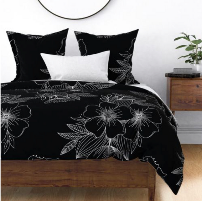 Floral Spray Comforter Cover in black