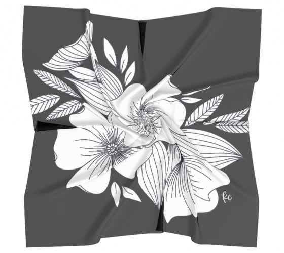Floral Spray Scarf in Silk