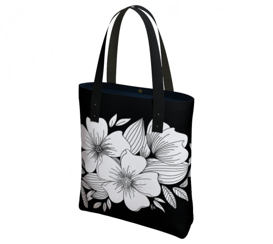 Floral Spray Canvas Tote