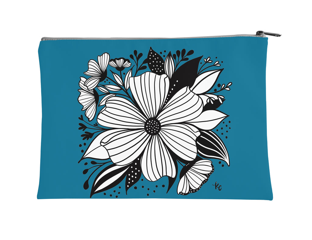 Anemone on blue Accessory Pouch - kathryncole