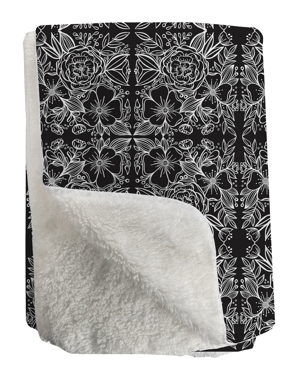 Black Floral Tiles Sherpa Fleece Throw - kathryncole