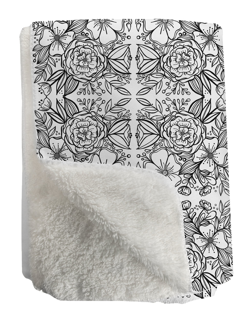 Floral Tiles Sherpa Fleece Throw - kathryncole