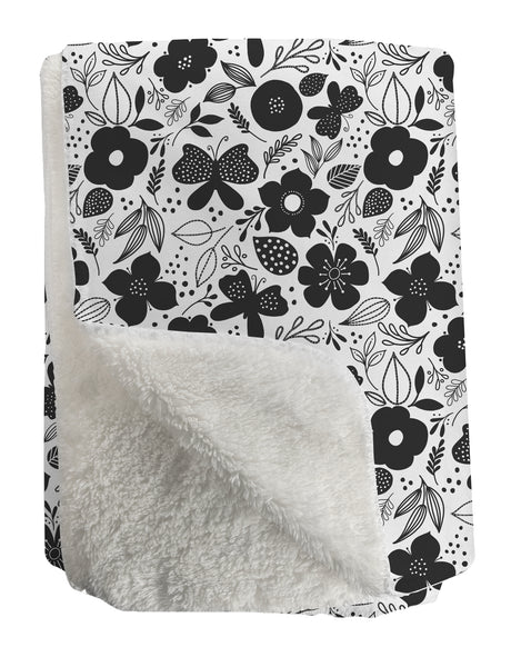 Butterfly + Bloom Sherpa Fleece Throw - kathryncole