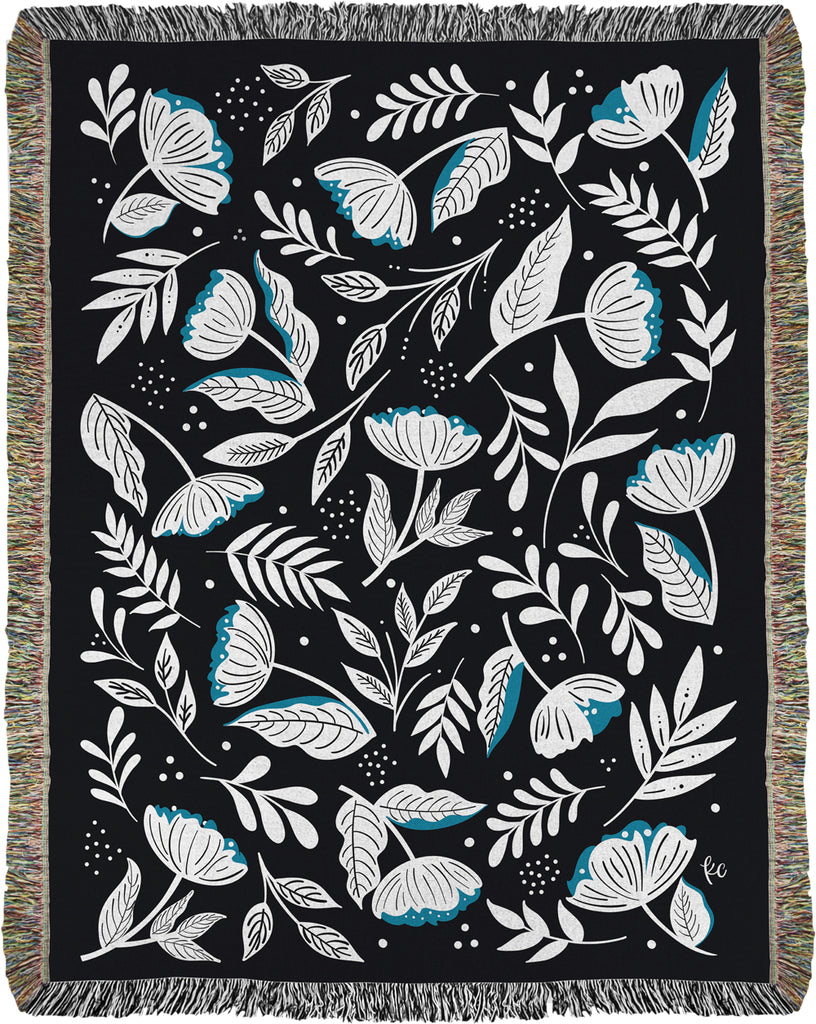 Flower Seeker Woven Throw on black (limited edition)