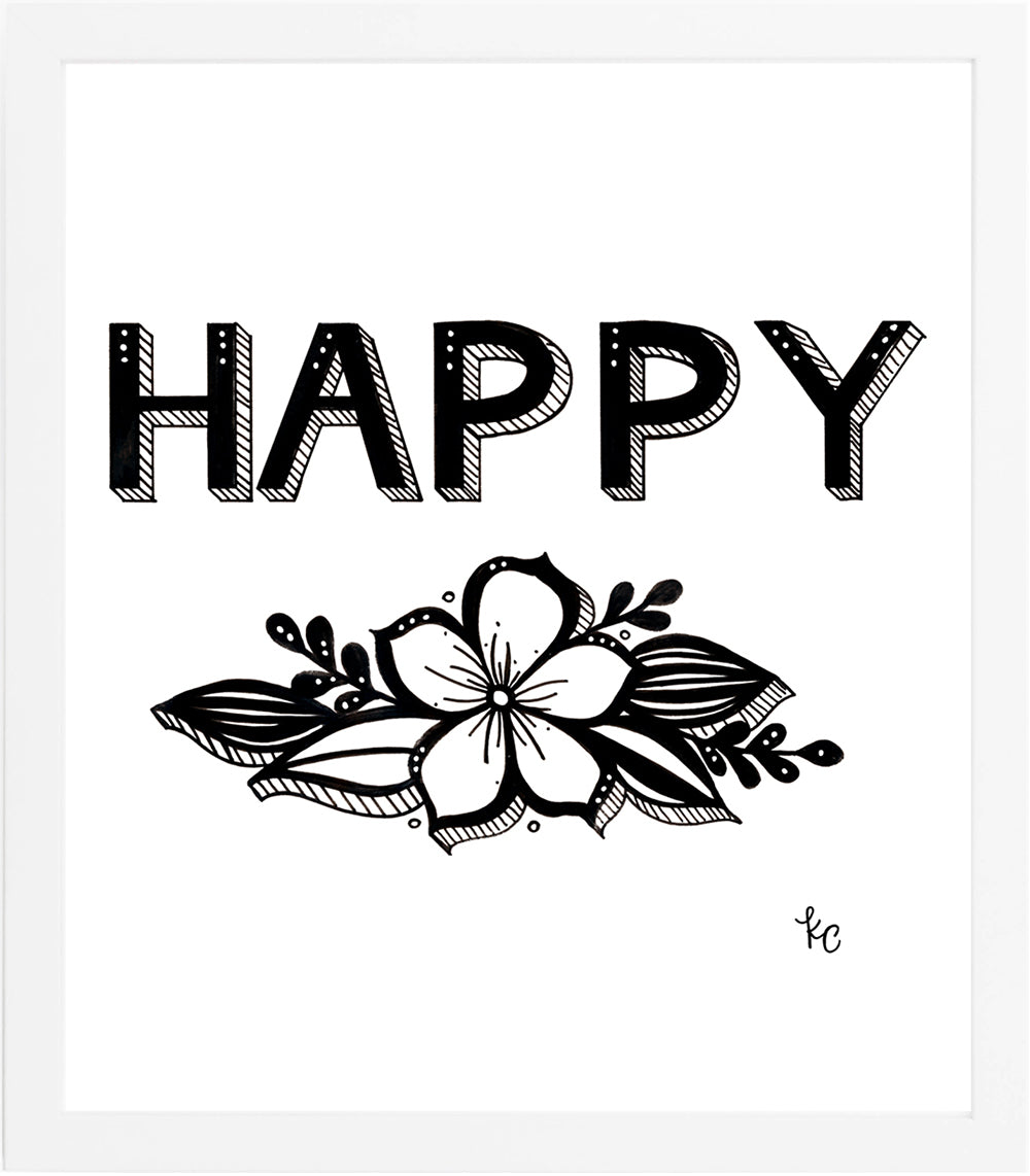 HAPPY Art Print - kathryncole