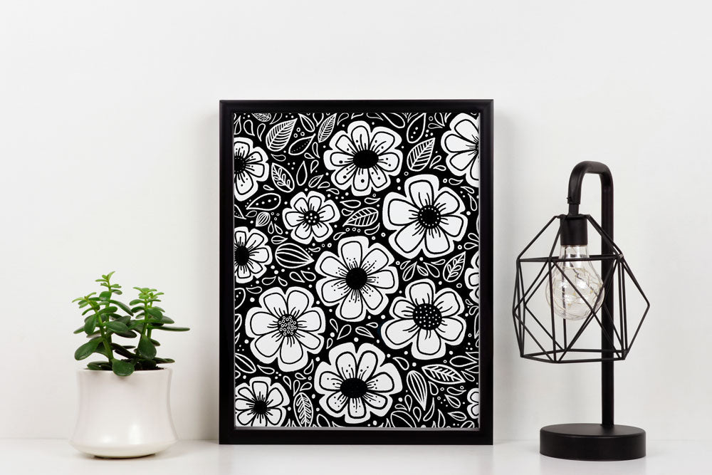 Happy Painterly Flowers Art Print
