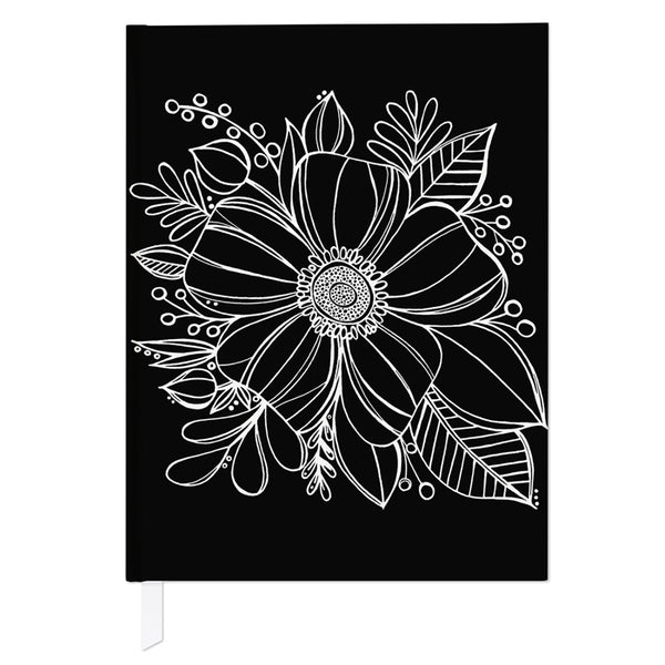Anemone Floral Journal in Black and White