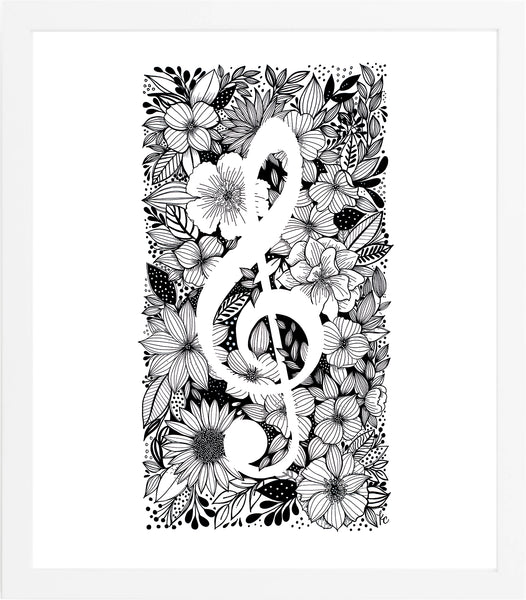 Treble Clef Art Print - kathryncole