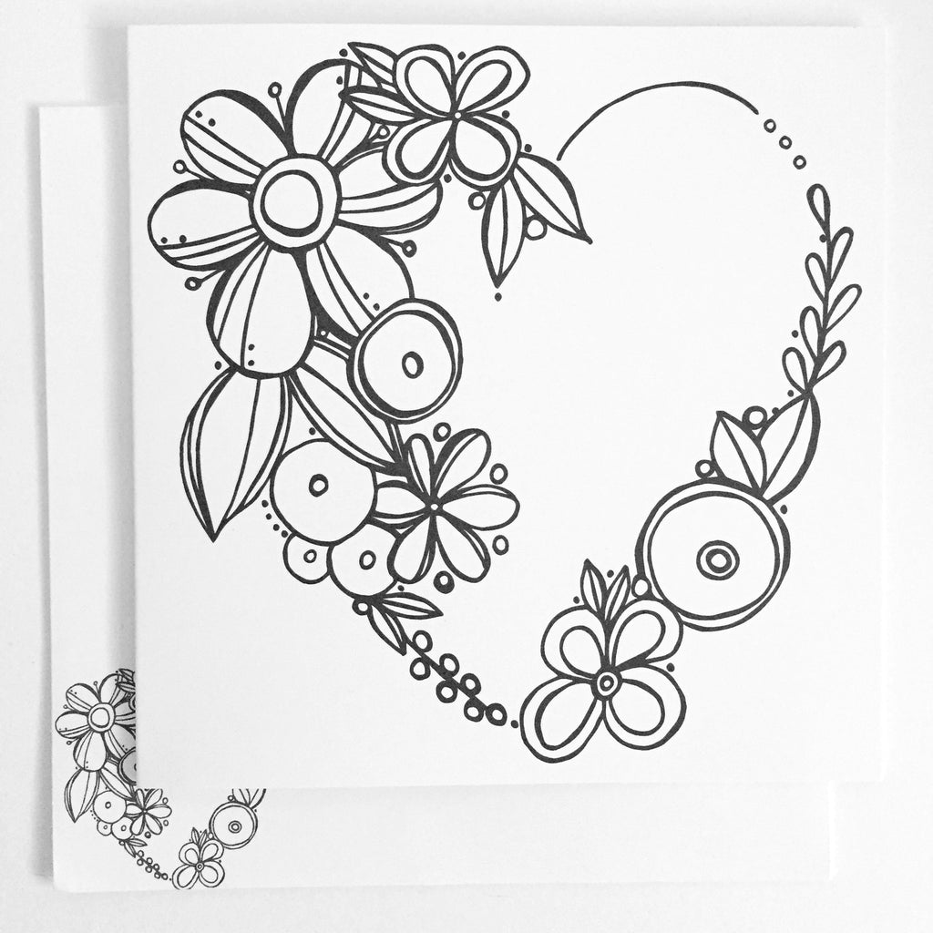 Floral Heart Coloring Card - kathryncole
