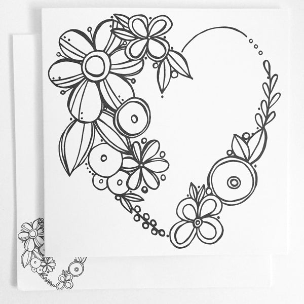 Floral Heart Coloring Card