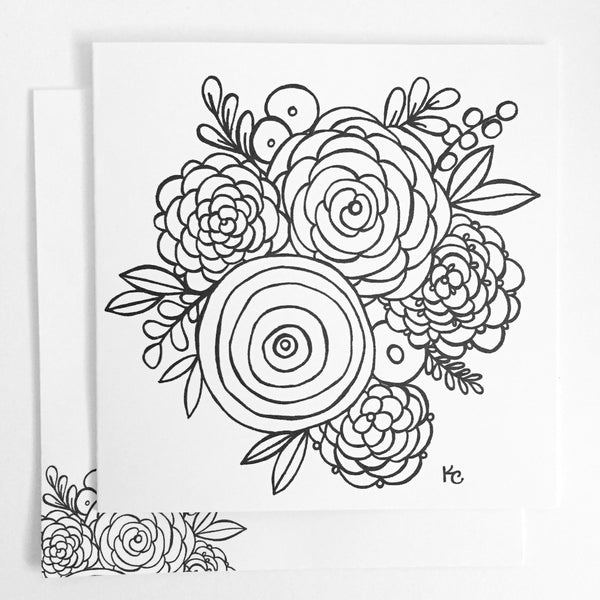 Vintage Florals Coloring Card - kathryncole
