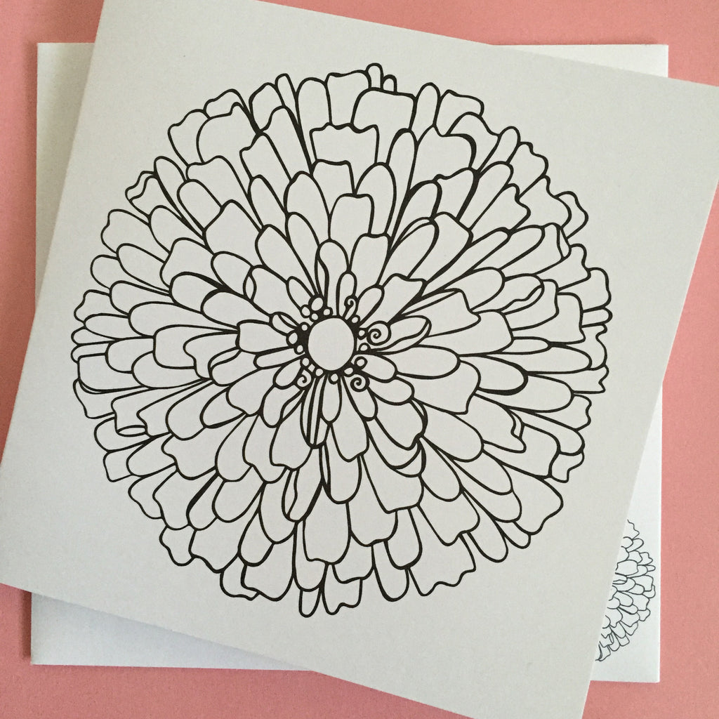 Zinnia Coloring Card - kathryncole
