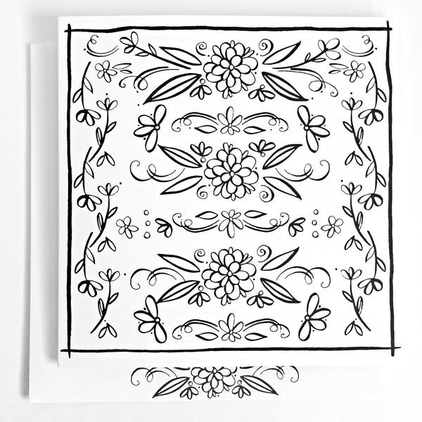 Floral Square Coloring Card - kathryncole