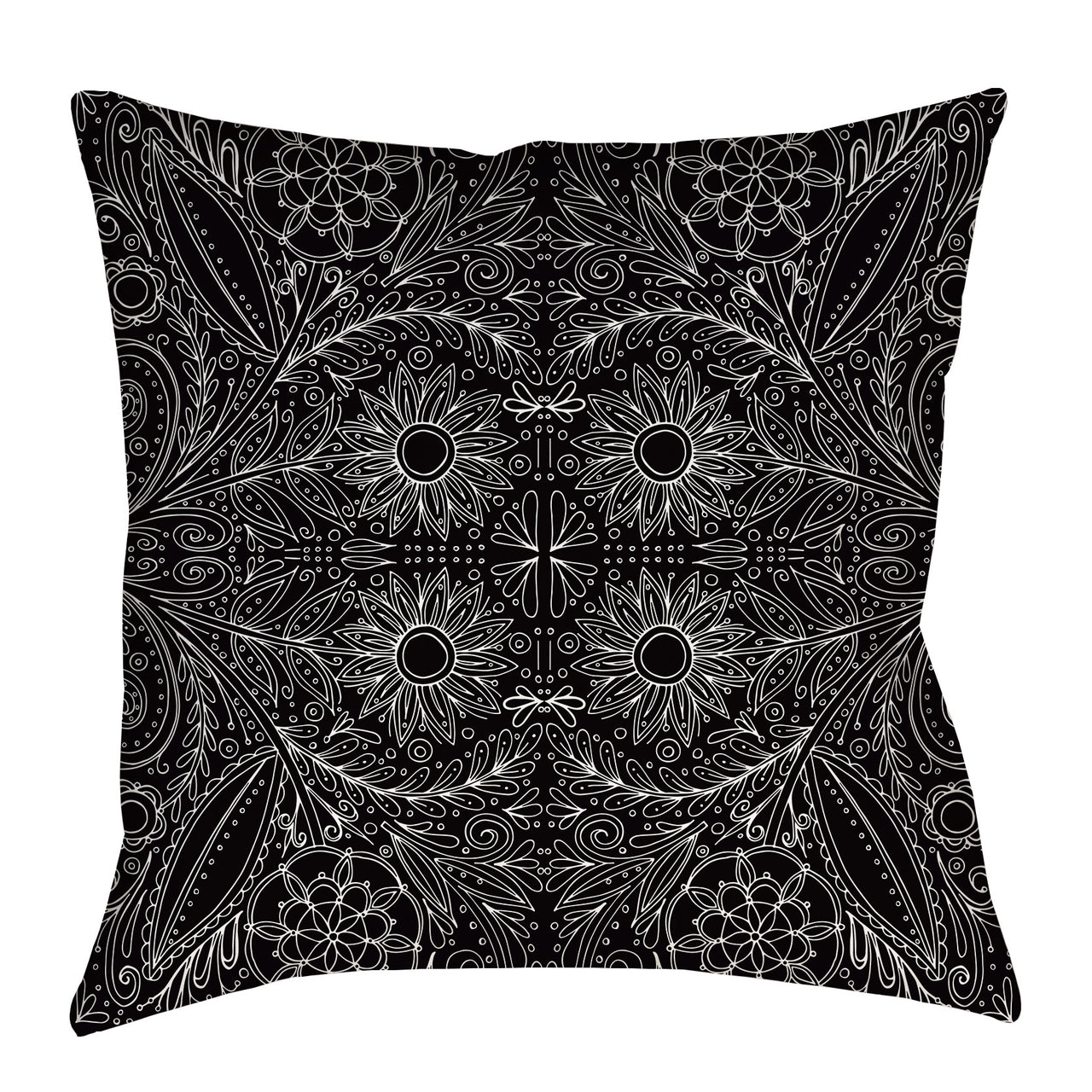 Folk Floral Pillow in black and white - kathryncole