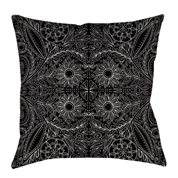 Folk Floral Pillow in black and white