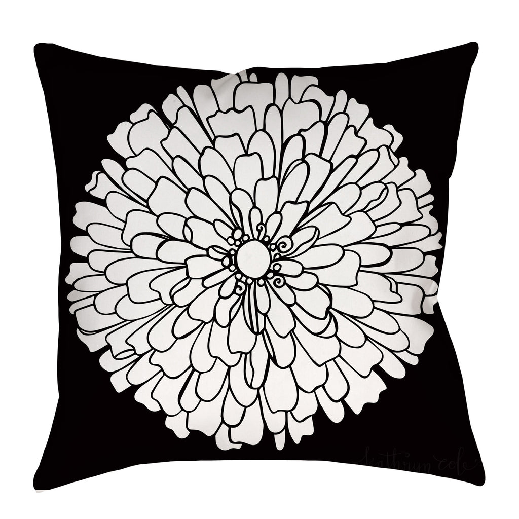 Zinnia Pillow on black with stripes - kathryncole