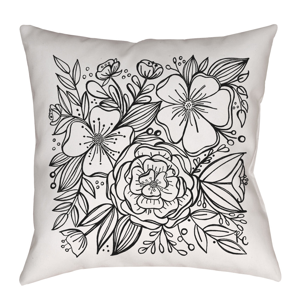 Floral Tile Pillow in black and white - kathryncole