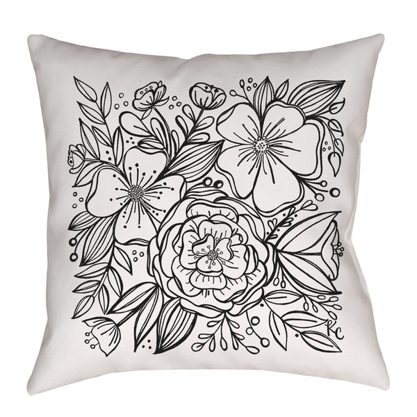Pretty Floral Tile Pillow in black and white hand drawn by Kathryn
