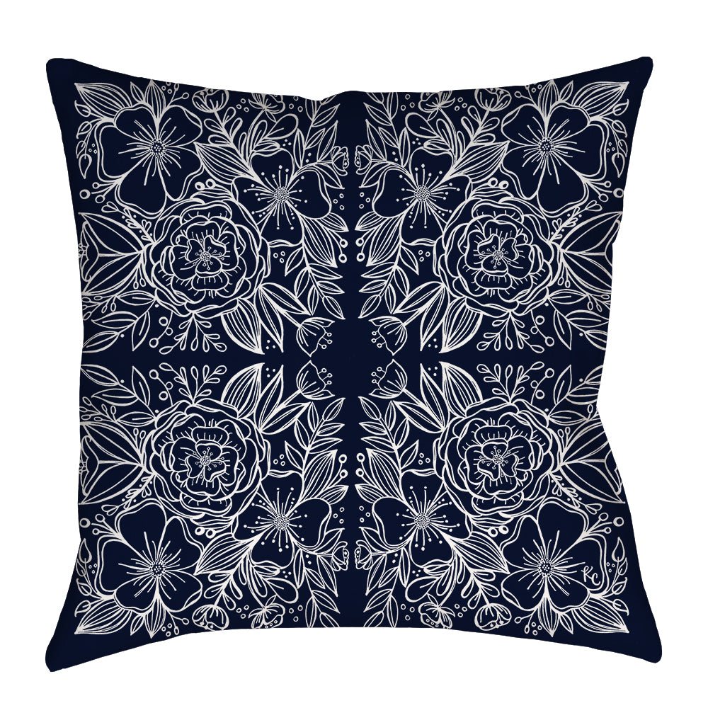 Floral Tiles Pillow in Navy - kathryncole