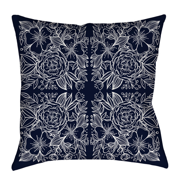 Floral Tiles Pillow in Navy
