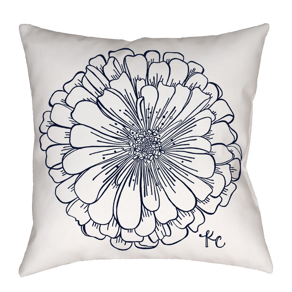 Zinnia Pillow in Navy - kathryncole