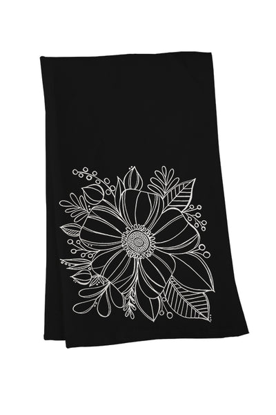 Anemone on Black Tea Towel - kathryncole