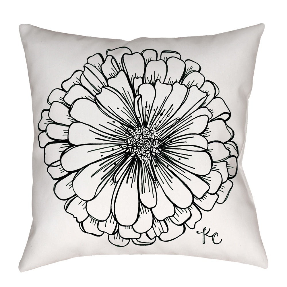 Zinnia Pillow in black and white - kathryncole