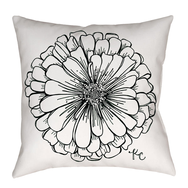 Zinnia Pillow in black and white