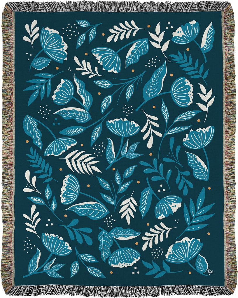 Flower Seeker Woven Throw in Blue, no. 2 (limited edition)