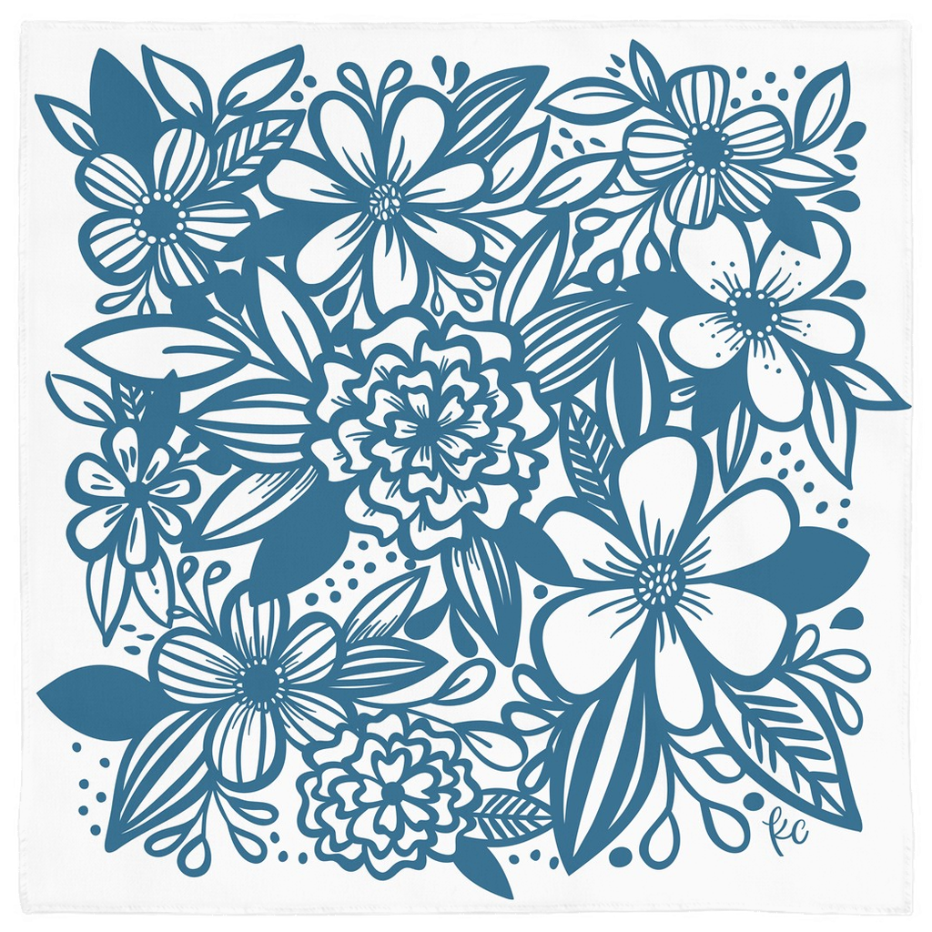 Inky Florals in Blue Bandana