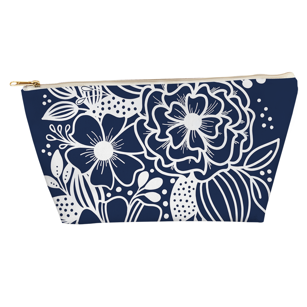 Dancing Florals Navy T Bottom Accessory Pouch - kathryncole