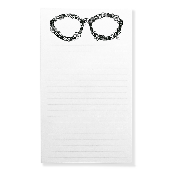 Illustrated Floral Eye Glasses notepad in black and white with lines