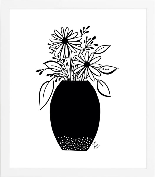 Daisies in Vase Art Print