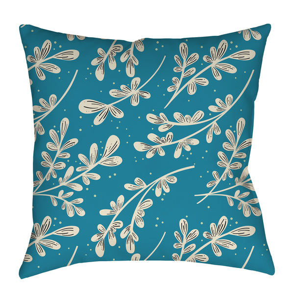 Greenery on blue Pattern Pillow