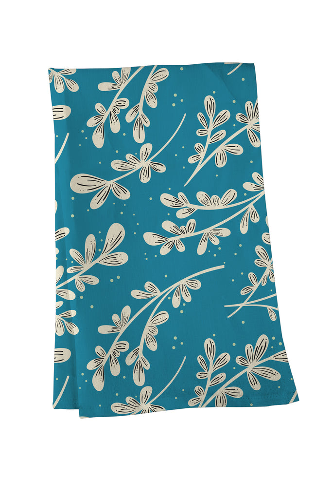 Greenery on Blue Tea Towel